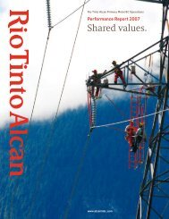 Shared values. - Rio Tinto Alcan Primary Metal BC Operations