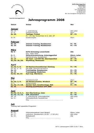 Jahresprogramm 2008 - KUTU - Obersiggenthal