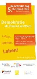 Veranstaltungsprogramm - 8. Demokratie-Tag Rheinland-Pfalz