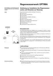 Regenwasserwerk OPTIMA Anleitung zur Installation des ...