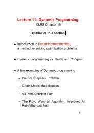 Lecture 11: Dynamic Progamming