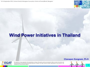 Wind Power Initiatives in Thailand - Clean Energy Expo