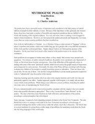 MYTHOGENIC PSALMS - G. Charles Andersen, MA