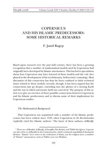 copernicus and his islamic predecessors - Wilbourhall.org