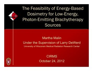 The Feasibility of Energy-Based Dosimetry for Low-Energy ... - CIRMS