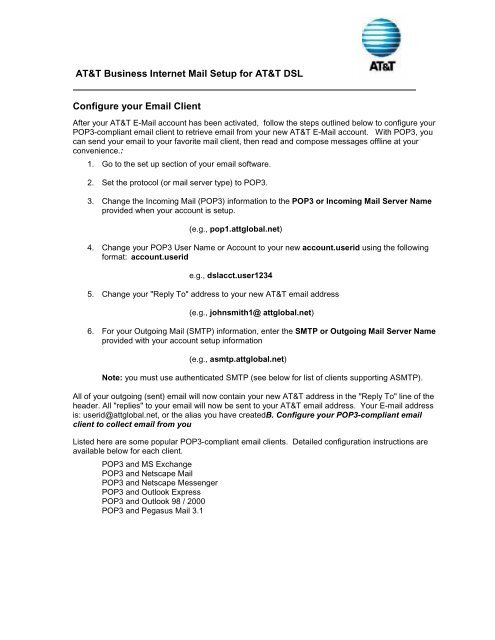 AT&T Business Internet Mail Setup for AT&T DSL Configure
