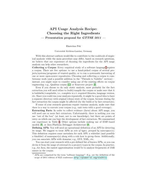 API Usage Analysis Recipe: Choosing the Right Ingredients