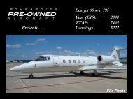 Learjet 60 s/n 196 Year (EIS): 2000 TTAF: 7465 ... - Bombardier