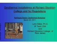 Geothermal at Stockton College NJ - NEIWPCC
