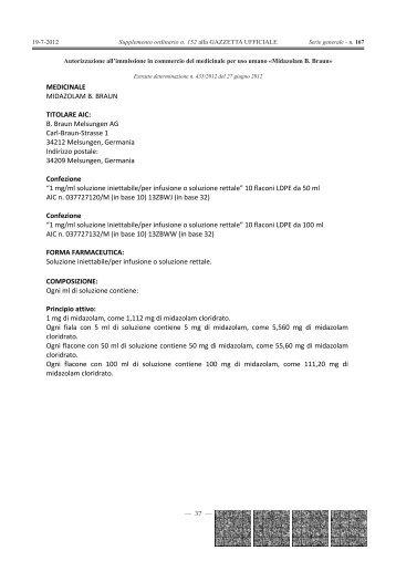 MEDICINALE MIDAZOLAM B. BRAUN TITOLARE ... - Gazzette.info