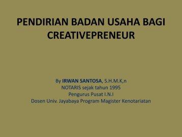 pendirian badan usaha bagi creativepreneur - Indonesia Kreatif