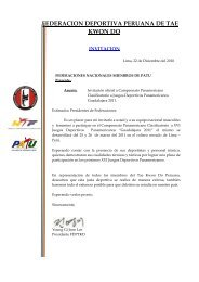 federacion deportiva peruana de tae kwon do - Pan American ...