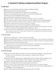 A Checklist for Starting a Neighborhood Watch Program