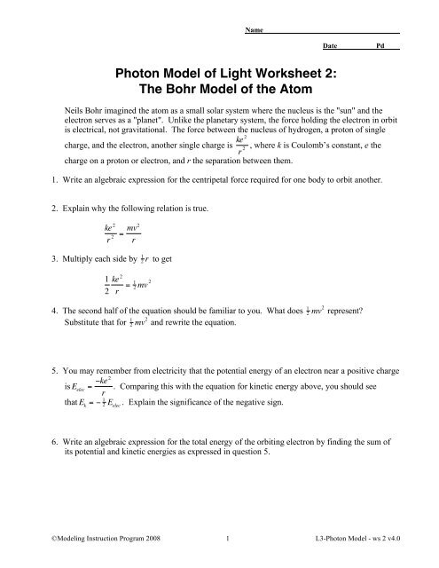 Photon Model of Light Worksheet 2: The Bohr ... - Modeling ...