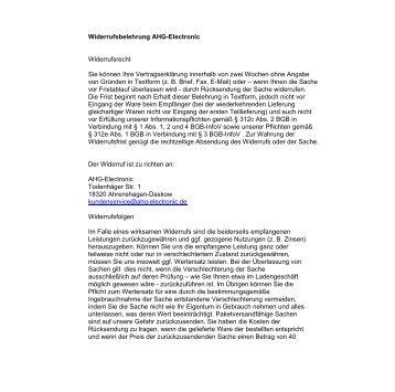 Widerrufsbelehrung AHG-Electronic Widerrufsrecht Sie können Ihre ...