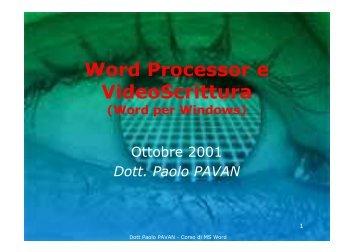 Word Processor e VideoScrittura - Paolo PAVAN