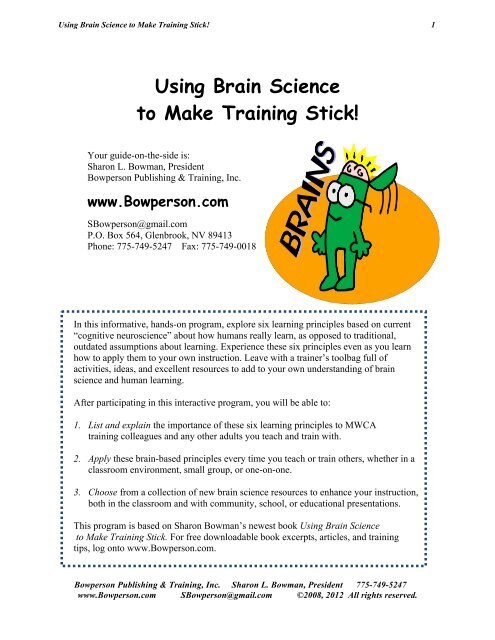 How To Apply Brain Science Of >> Handout Pdf Sharon Bowman