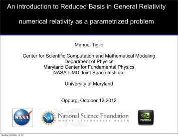 An introduction to Reduced Basis in General Relativity numerical ...