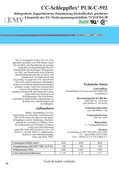 CC-Schleppflex® PUR-C-592 - ConCab kabel gmbh