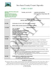 San Juan County Council Agenda EARLY START