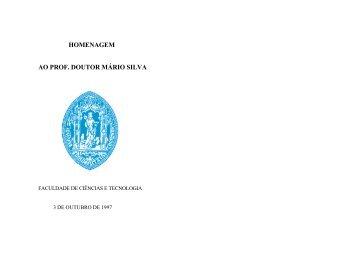 HOMENAGEM AO PROF. DOUTOR MÁRIO SILVA - Departamento ...