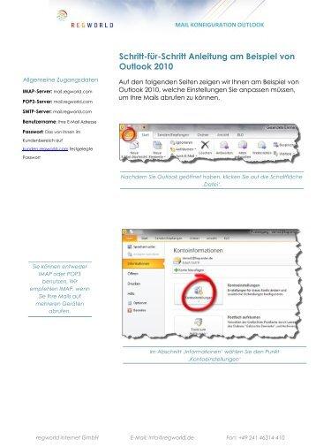 Schritt-für-Schritt Anleitung am Beispiel von Outlook 2010