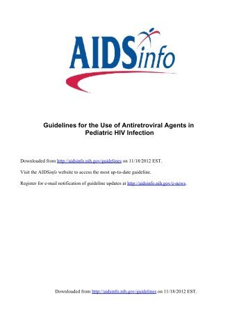 Guidelines for the Use of Antiretroviral Agents in - Aidsinfo ...
