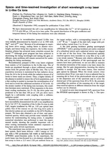Space- and time-resolved investigation of short wavelength x-ray ...