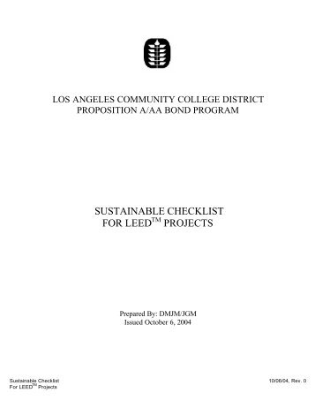 Sustainable Checklist for LEED Projects - Build-laccd.org