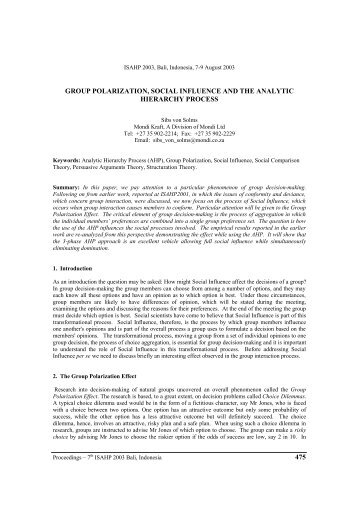 group polarization, social influence and the analytic hierarchy process