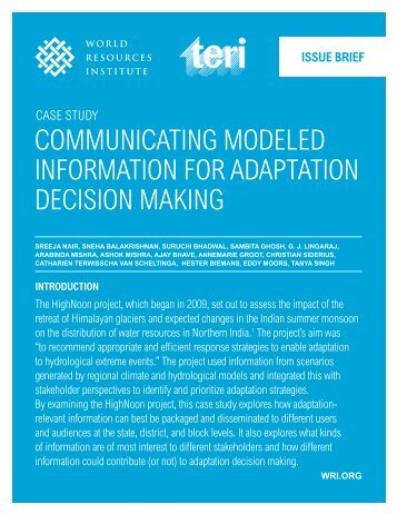 Communicating Modeled Information for Adaptation Decision Making