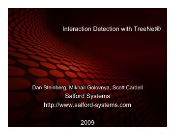 Interaction Detection With TreeNet Boosted Tree ... - INFORMS NY