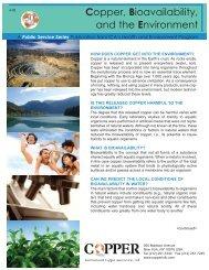 Copper, Bioavailability and the Environment - Copper Development ...