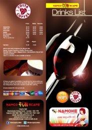 Drinks Menu - Namco Funscape