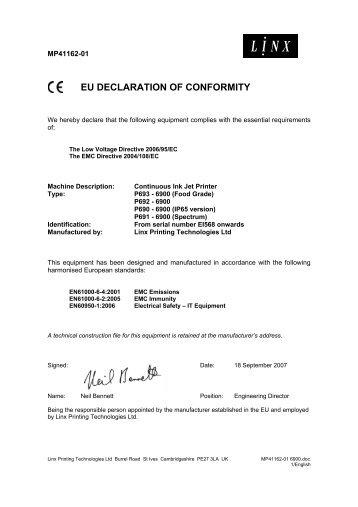 Eu declaration of conformity linx printing technologies altavistaventures Choice Image