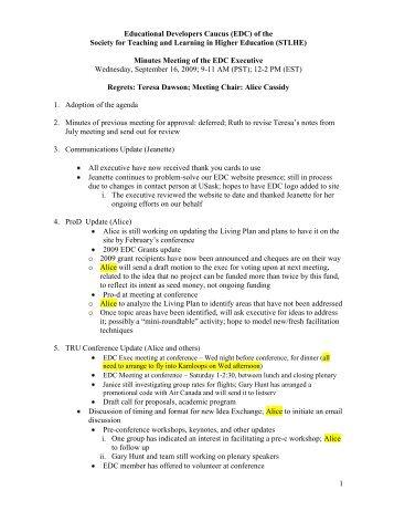 Exec Minutes 2009 Sept .16 - STLHE