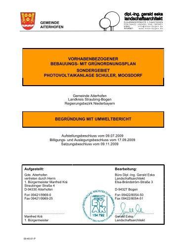 Sondergebiet Photovoltaikanlage Schuler, Moosdorf - Aiterhofen