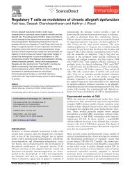Regulatory T cells as modulators of chronic allograft dysfunction