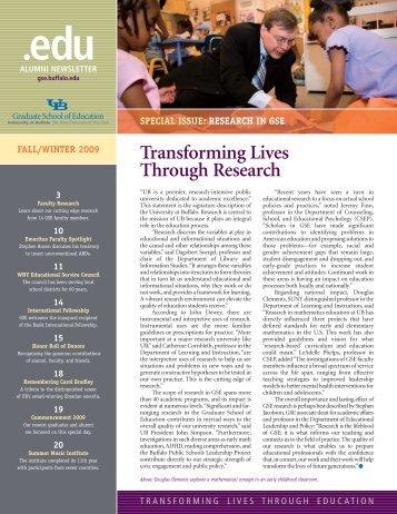 UB GSE newsletter fall 2009:layout - UB Graduate School of ...