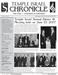 CHRONICLE CHRONICLE CHRONICLE - Temple Israel