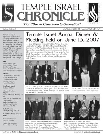 CHRONICLE CHRONICLE CHRONICLE - Temple Israel