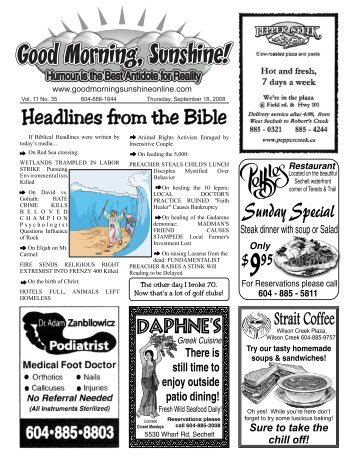 Headlines from the Bible - Good Morning Sunshine.ca