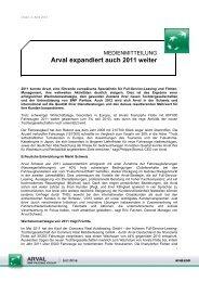 Arval expandiert auch 2011 weiter