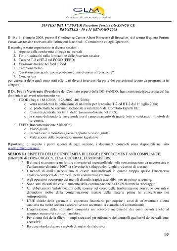 Sintesi Forum - Gruppo Lavoro Micotossine