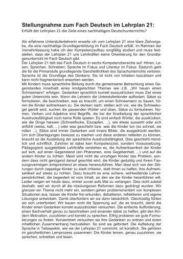 Stellungnahme zum Fach Deutsch im Lehrplan 21: - Kindgerechte ...