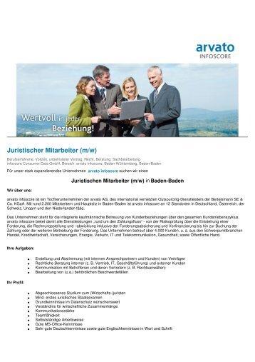 Mitarbeiter marketing und vertriebsmanagement m w for Juristischer mitarbeiter
