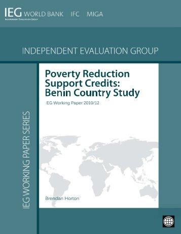 Benin Country Study (Working Paper) - World Bank