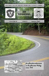 Volume 36 Issue 1, January 2009 - Maumee Valley - Porsche Club ...