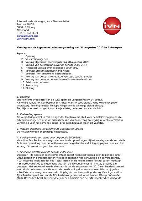 Verslag ALV 31 augustus 2012 - Internationale Vereniging voor ...