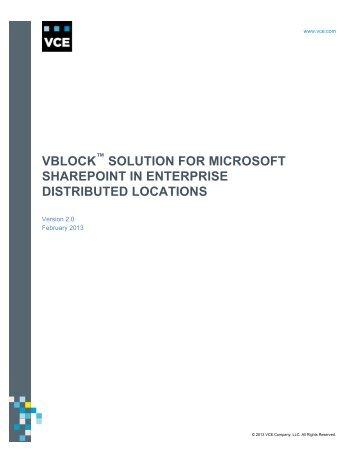 Vblock Solution for Microsoft SharePoint in Enterprise ... - VCE